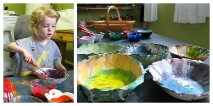 Painting the Papier Mache Bowls