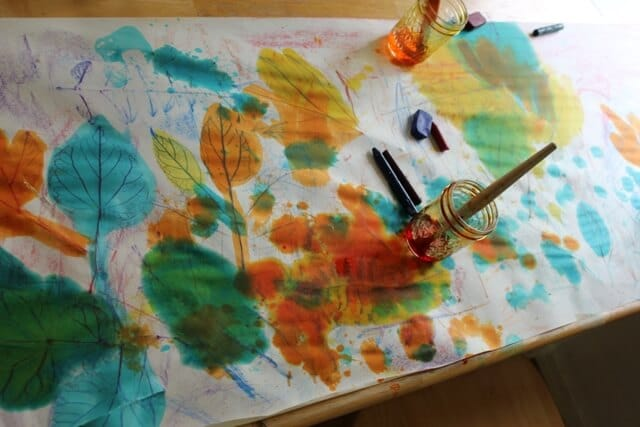 Leaf Rubbings and Watercolor Resist