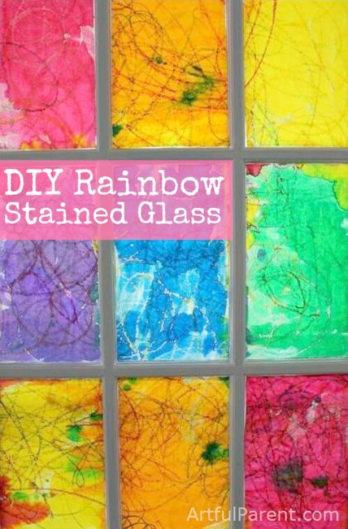 DIY Rainbow Watercolor Resist Stained Glass Window