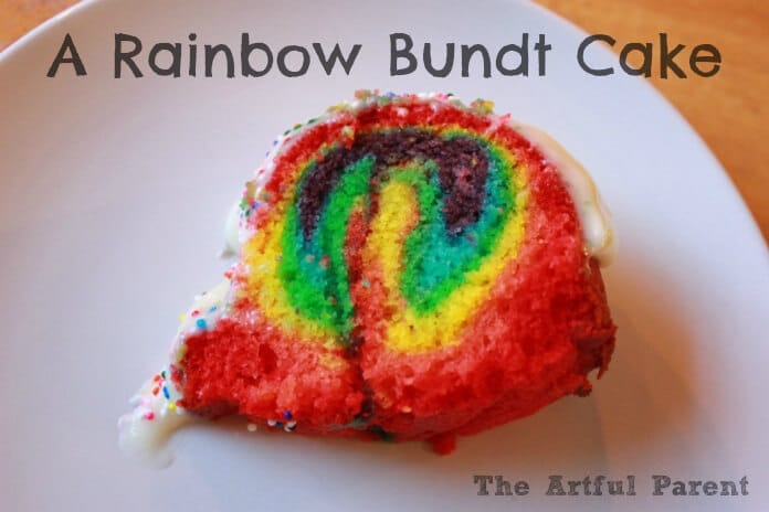 A Rainbow Bundt Cake Slice