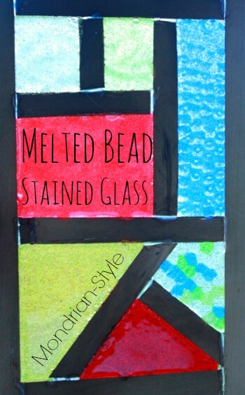 Melted Bead Stained Glass -- Mondrian Style! A fun craft project for kids using plastic pony beads