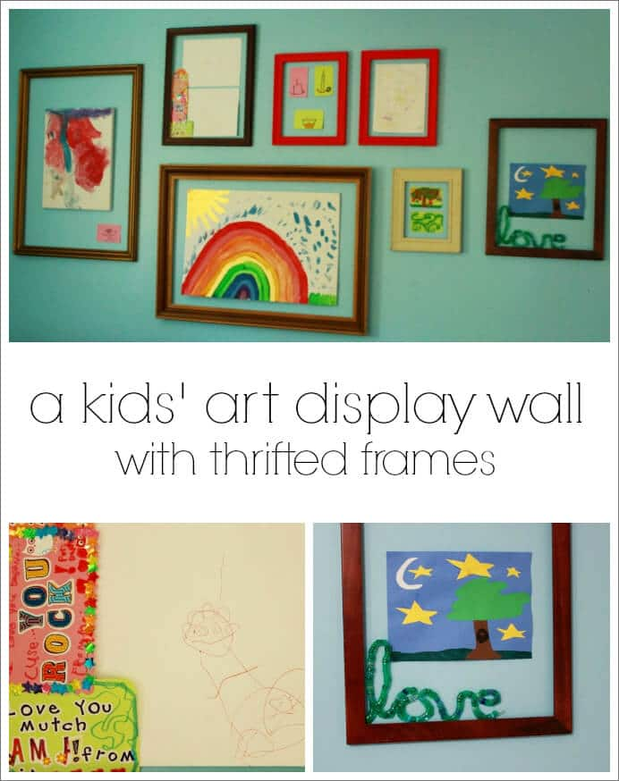 A Kids Art Display Wall with Thrifted Frames