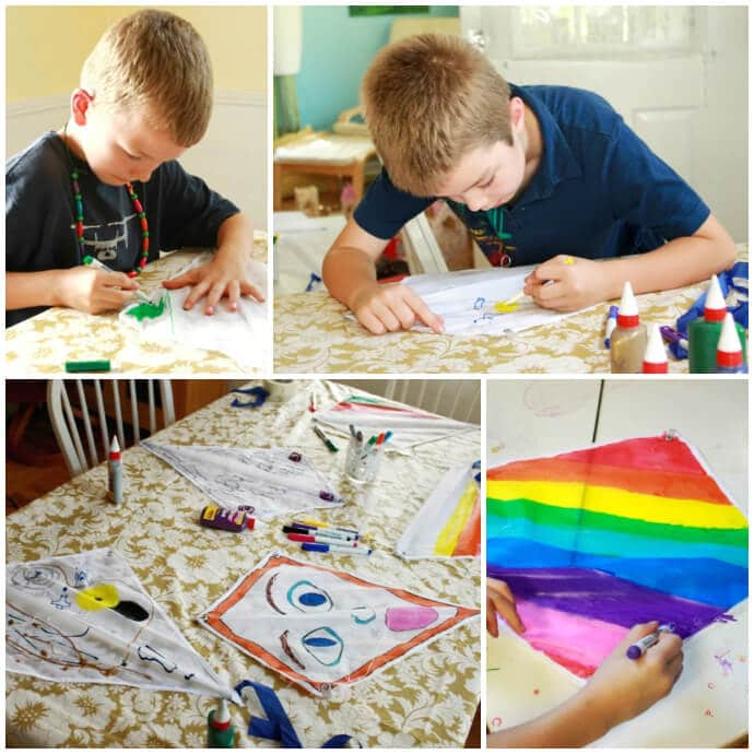 Decorate Your Own Kites -- at the big kid table