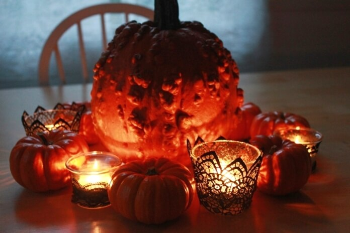 Pumpkins and Black Lace Candles 5