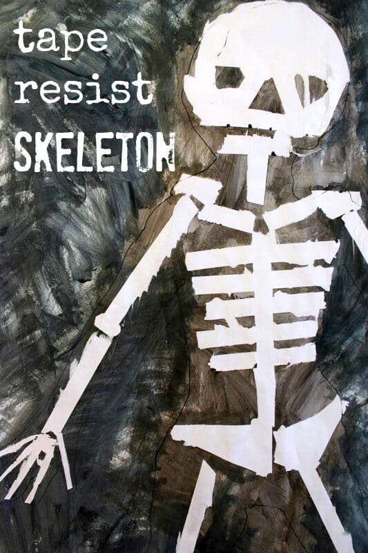Tape Resist Skeleton Painting -- a fun and educational kids' halloween art activity. Plus it looks awesome!