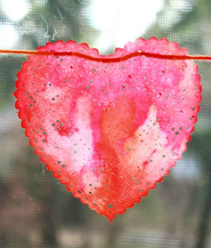 Watercolor Painted Heart Doily in the Window