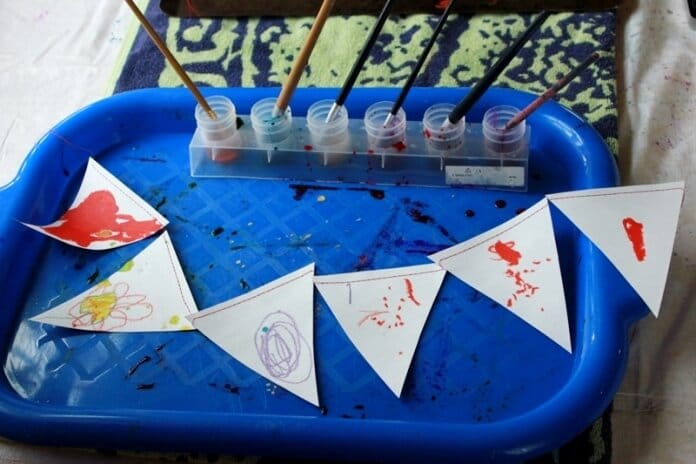 Melted Crayon Stained Glass Bunting 16