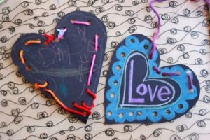 Metallic on Black Valentines -- Plus testing a variety of metallic children's art materials