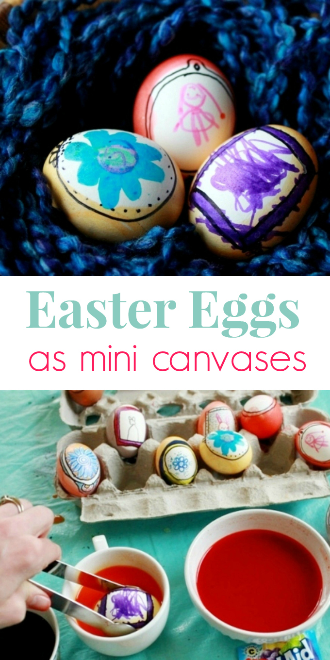 Easter Egg Ideas for Kids - Easter eggs as mini canvases for Art