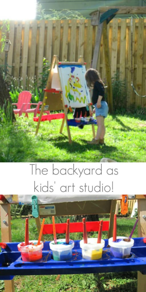 Kids Easel for backyard art studio