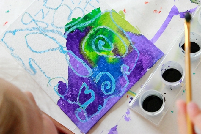Melted Crayon Art on Canvas