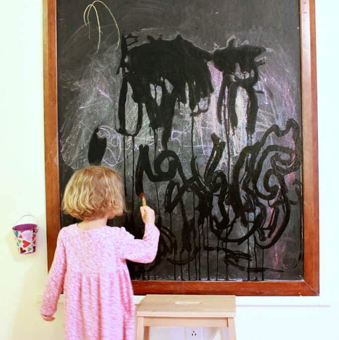 Painting with Water on the Chalkboard