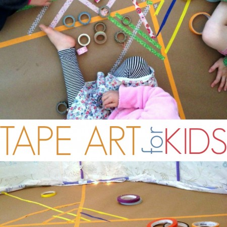 Masking Tape Art Project for Kids - Weaving a Colorful Rug
