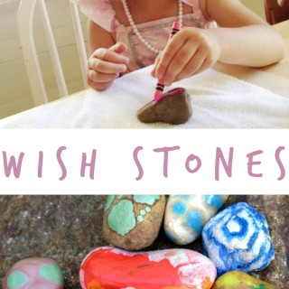 DiY Wishing Stones with Melted Crayon Rocks