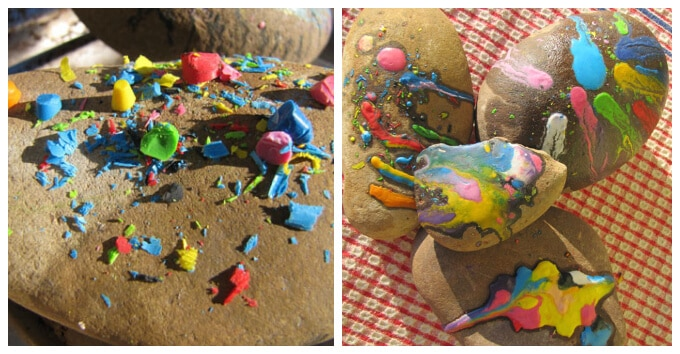 Kids Art with Rocks - Melted Crayon Shavings