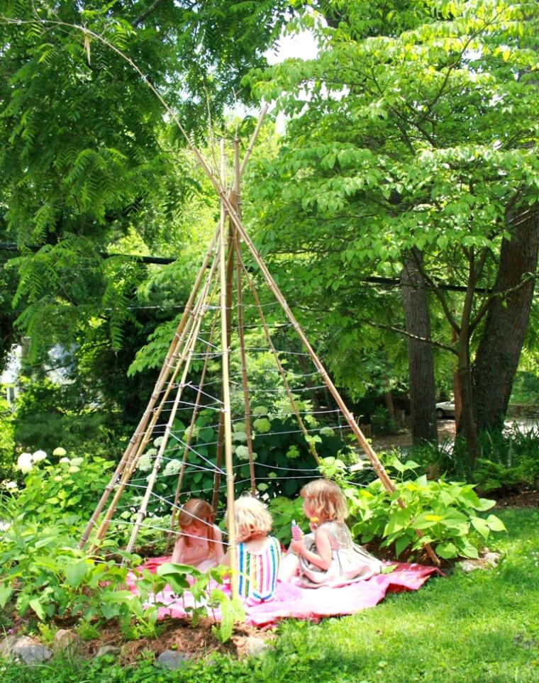 Kids in the Bean Pole Teepee