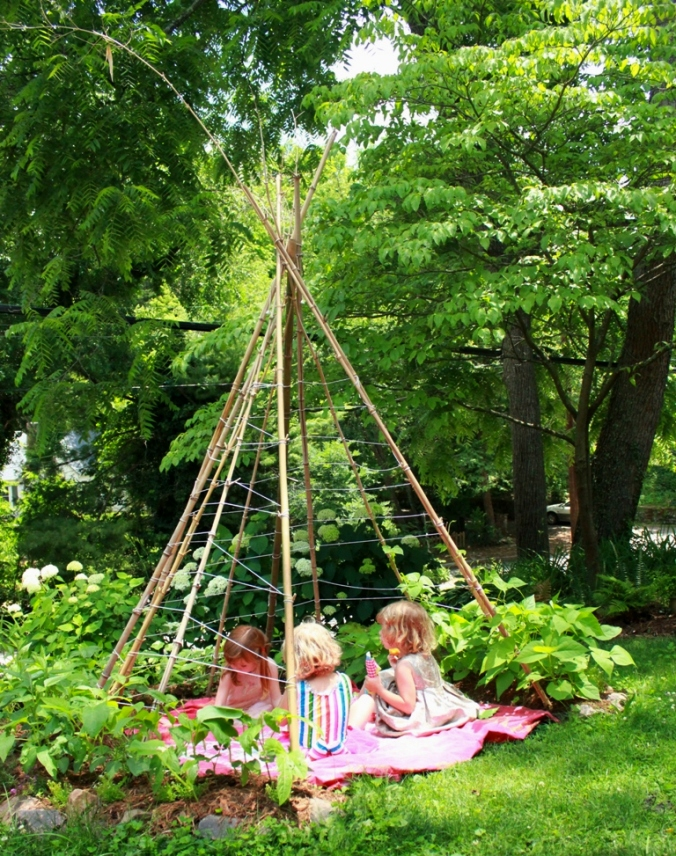 Kids in the Bean Pole Teepee