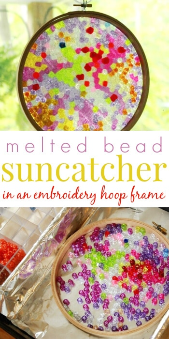 Make Melted Plastic Bead Suncatchers in an Embroidery Hoop Frame