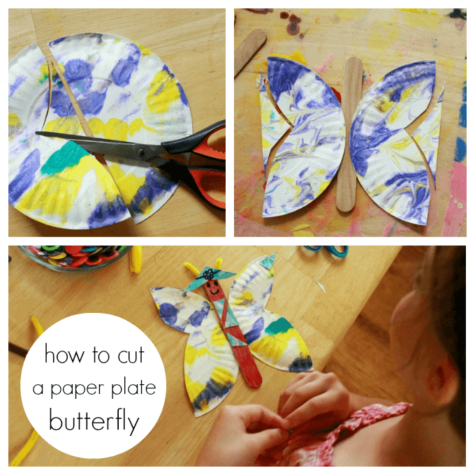 butterfly paper plates This simple paper plate butterfly craft starts with our favorite shaving cream marbling technique then allows for additional decoration of the butterfly.