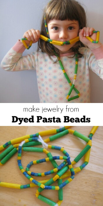 Kid Craft - Make Jewelry from Dyed Pasta Beads