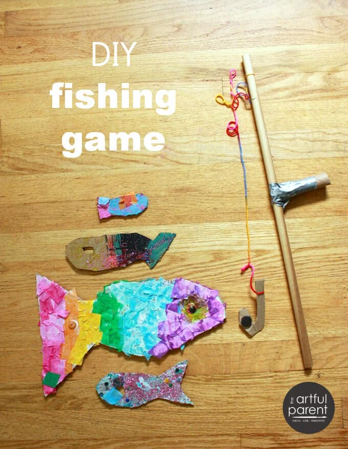 A diy fishing game and pretend play with fort magic for Fishing rod for kids
