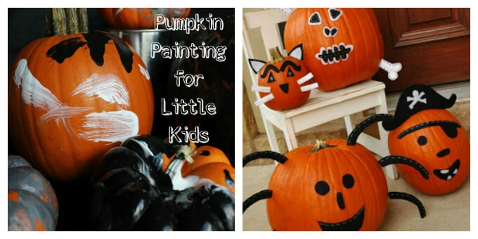 Decorating Pumpkins with Kids - Painting Pumpkins and Felt Faces