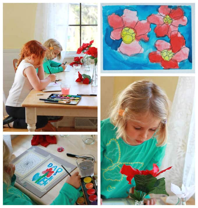 Kids Drawing and Painting Flowers
