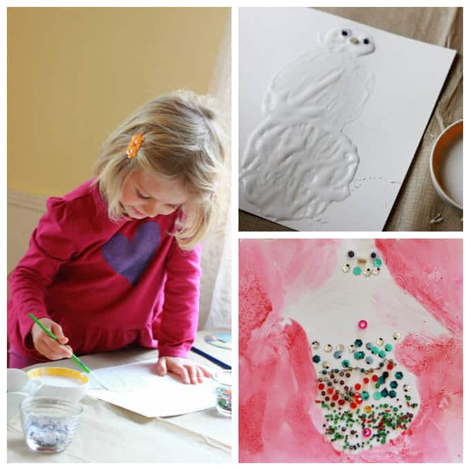 Making a Glue Resist Snowman Painting with Bead Decoration