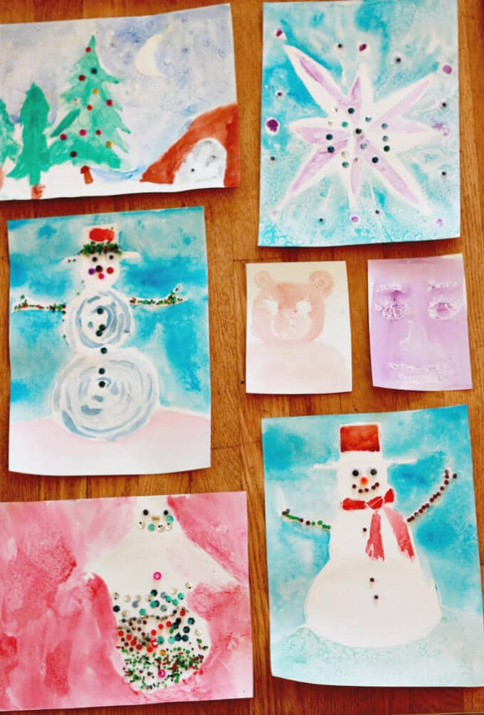 Winter Art for Kids - Glue Resist Paintings