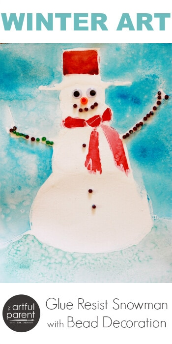 Winter Art for Kids - Glue Resist Snowman