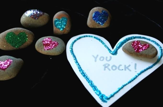 Glitter Rock Valentines for Kids