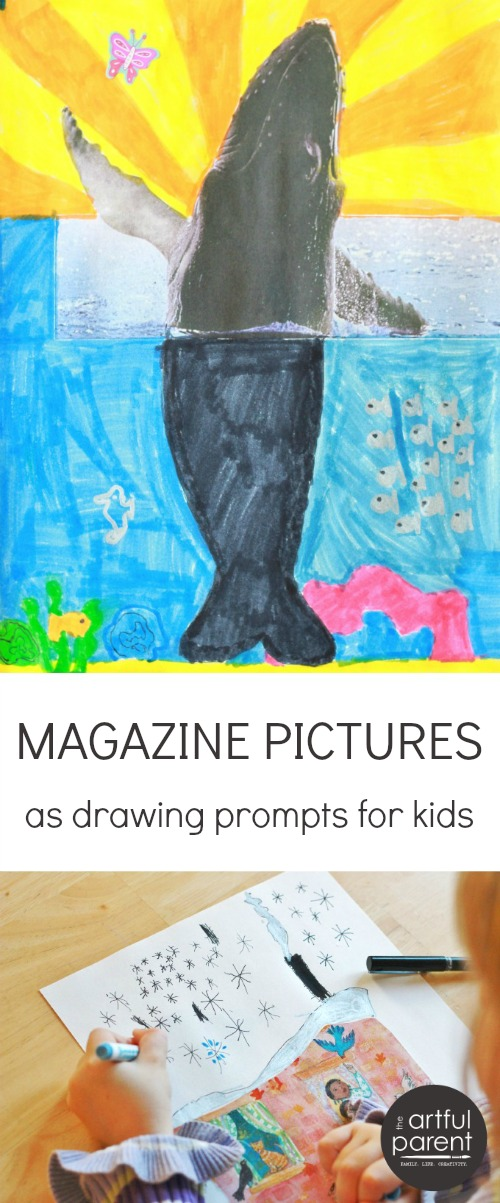 Magazine Pictures as Drawing Prompts for Kids