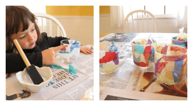 Handmade Mothers Day Gift Ideas - Tissue Paper Candleholders