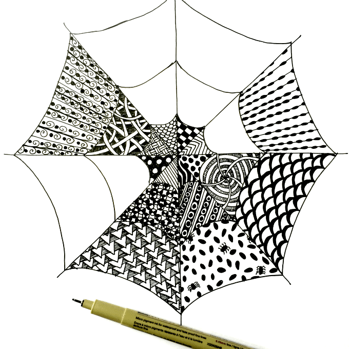 Easy zentangle for kids and adults with spiderwebs for Easy drawing websites