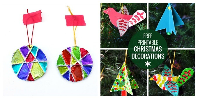 Homemade Christmas Ornaments - Embossed yarn ornaments and free printables