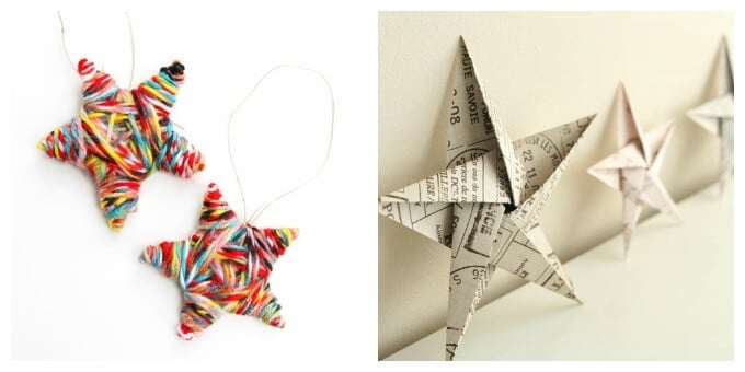 Homemade Christmas Ornaments - Yarn wrapped stars and origami stars