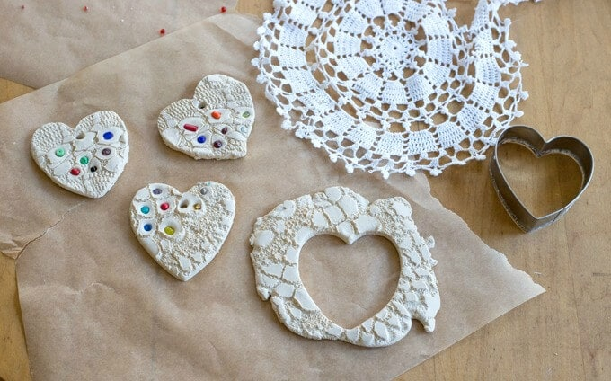 Making Lace Hearts in Clay