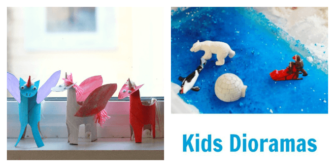 Kids Craft Ideas - TP roll unicorns and kids dioramas