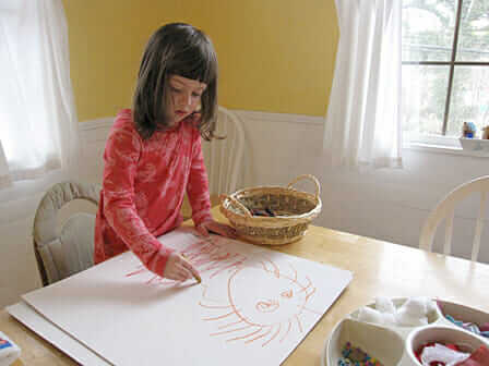 How to Make Mixed Media Collage Art With Your Kids - drawing on matboard