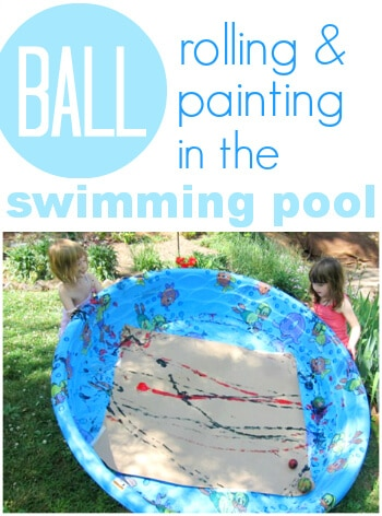Summer art activity swimming pool ball painting for Best paint for outdoor crafts
