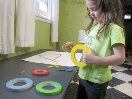 Using Colored Masking Tape for Kids Tape Art