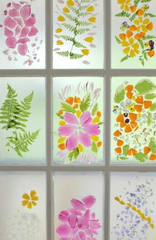 A Spring Flower Craft - Flower Petal Stained Glass with Contact Paper