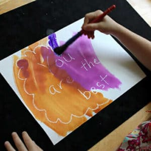 Invisible ink with crayon resist