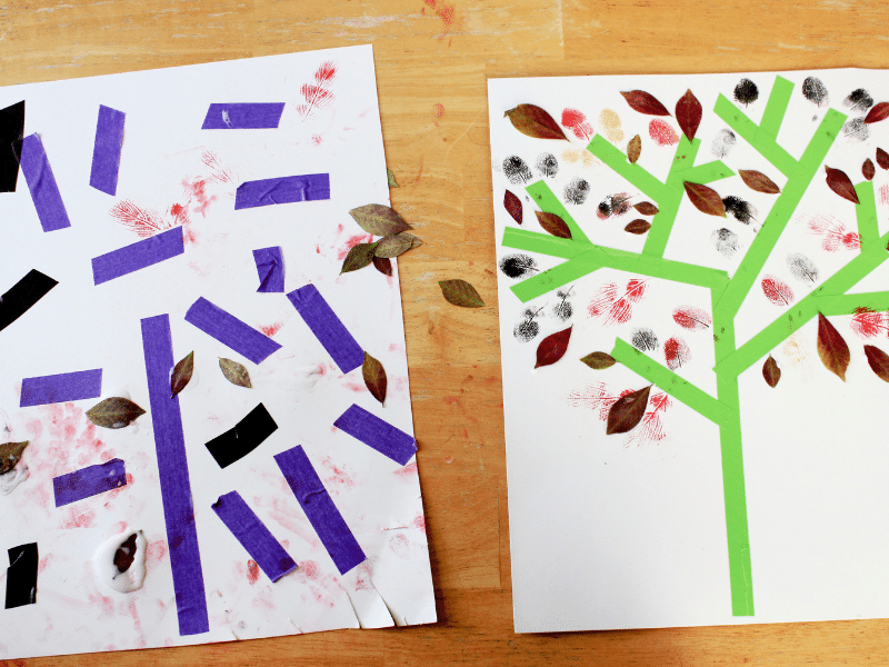 autumn tree art with washi tape featured image