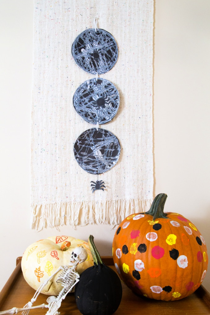 marble spider webs with pumpkins