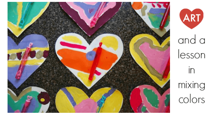 Heart Art and a Lesson in Color Mixing for Kids