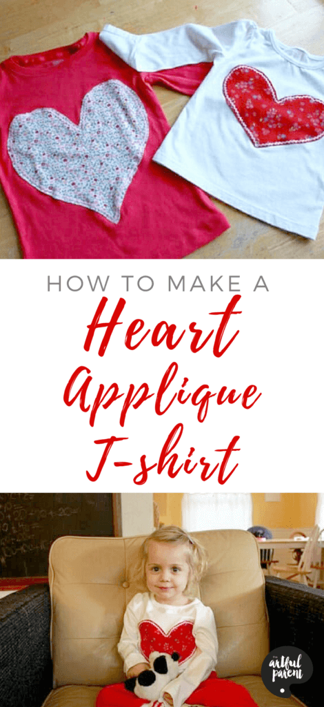How to Make A Heart Applique T-shirt #appliqueT-shirt #diyheartshirt #diyheartshirtkids #diyheartshirtvalentines