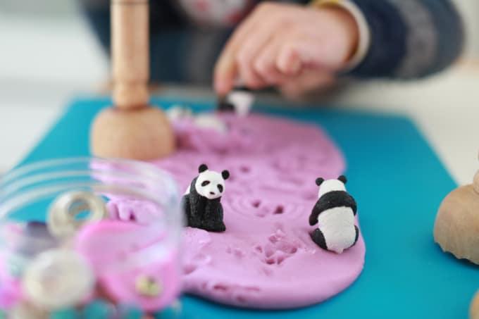 panda toys in purple playdough_Rachel Withers