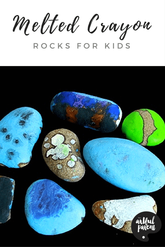 "Melted crayon rocks are made by ""painting"" on hot rocks with crayons, which melt as they touch the heated rock. This post shares tips and tricks for success. #rockart #kidscraft #kidsactivities #rocks #rockpainting #artsandcrafts #crayon"