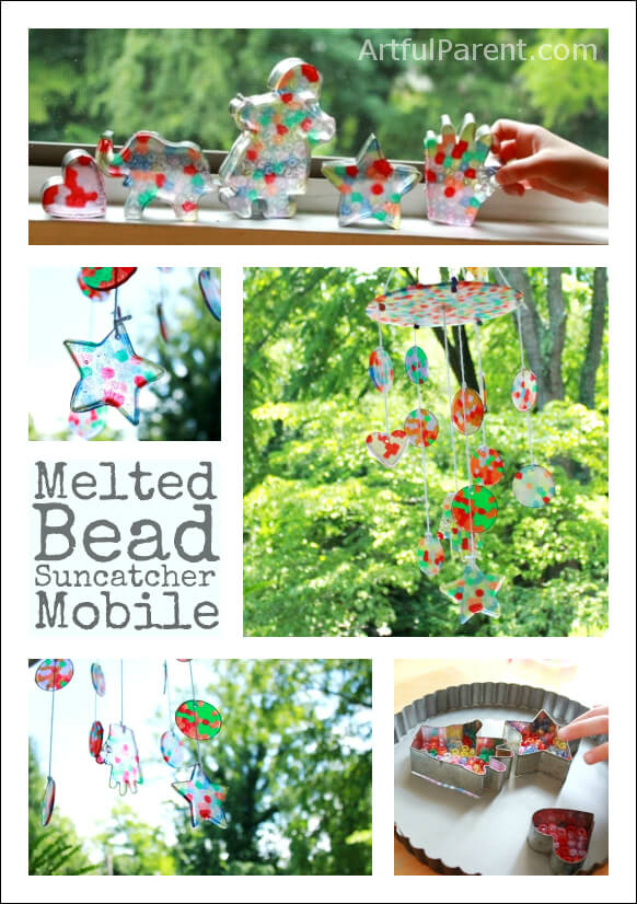 How to make a colorful melted bead suncatcher mobile from plastic pony beads. This is such a fun craft to do with kids & makes a great decoration or gift! #suncatchers #bead #craftsforkids #artsandcrafts #crafting #homemade